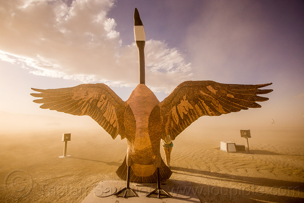 penny the goose - burning man 2015, art, bird, canada goose, coins, metal, pennies, sculpture