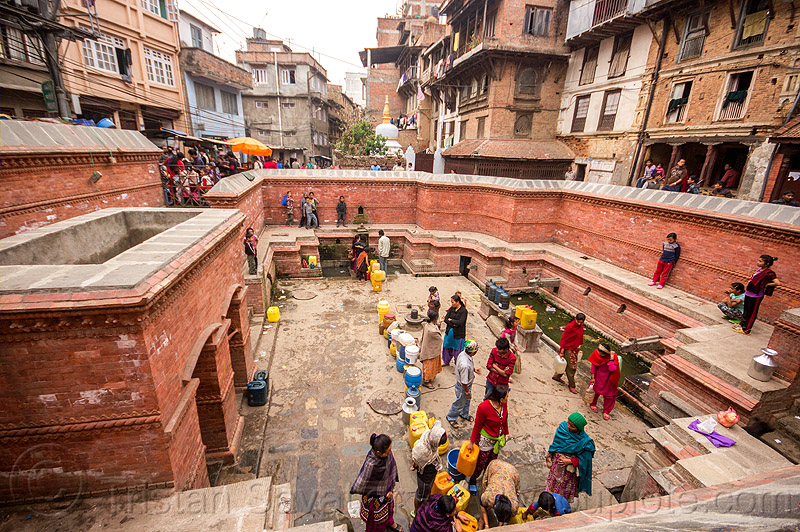 people getting water at old fountain in kathmandu (nepal), fountain, jerrycans, kathmandu, street, water