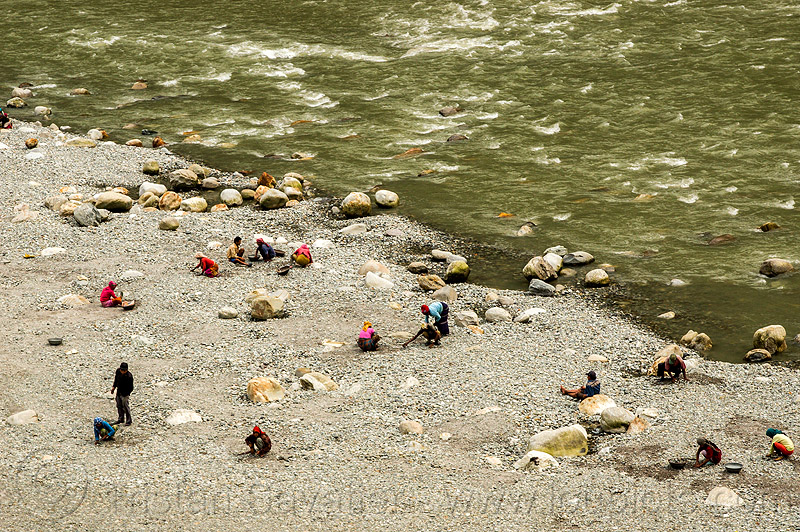 people gold panning on teesta river bank (india), geology, mineral, mining, river bank, teesta river, tista river, water, west bengal