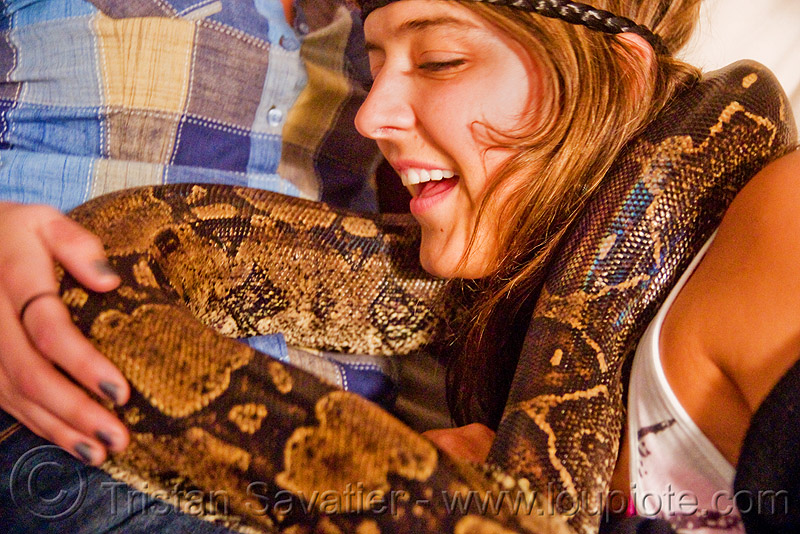 pet boa snake around eva's neck, boa constrictor, eva, pet snake, reptile, woman