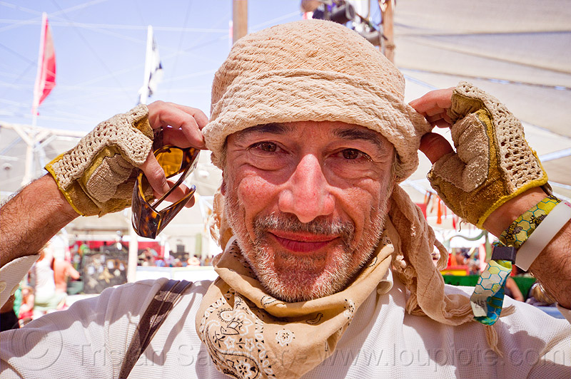 philippe glade, bandana, burning man, gloves, hat, mittens, open finger mittens, people, unshaven man