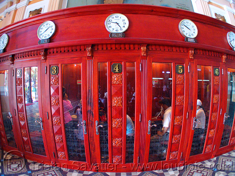 phone booths - vietnam, clocks, doors, ho chi minh city, phone booths, post office, red, saigon, telephone booths