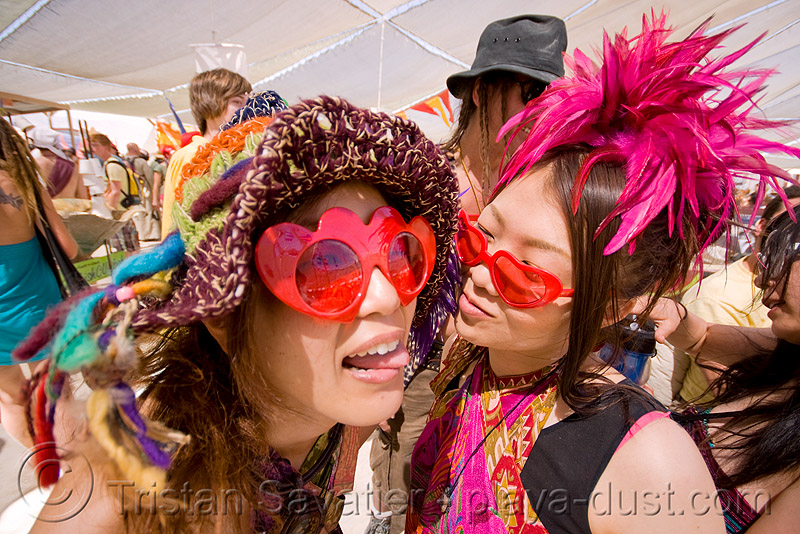 japanese girls - heart sunglasses - burning man 2008, burning man, center camp, heart sunglasses, hitomi, japanese girls, women