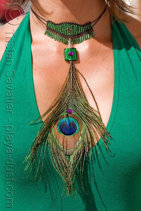 photo of woman with peacock feather necklace - burning man 2008, burning man, feather, necklace, peacock feathers
