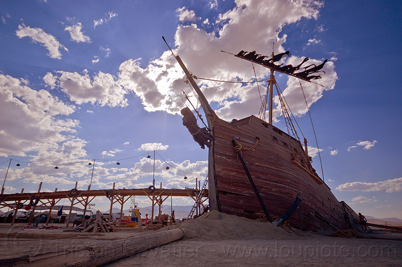 pier and shipwreck - burning man 2012, art installation, gallion, la llorona, shipwreck