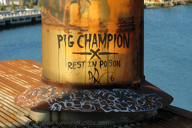 PIG CHAMPION - rest in poson, derelict, graffiti, pig champion, roof, rusty, smokestack, tie's warehouse, trespassing