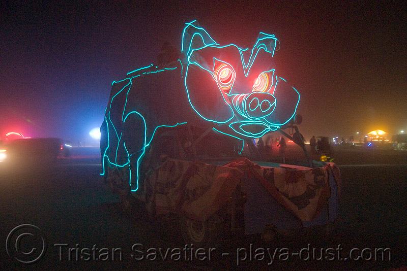 pig truck in the dust storm - burning man 2008, art car, burning man, dust storm, lorry, mutant vehicles, night, pig fruck, truck