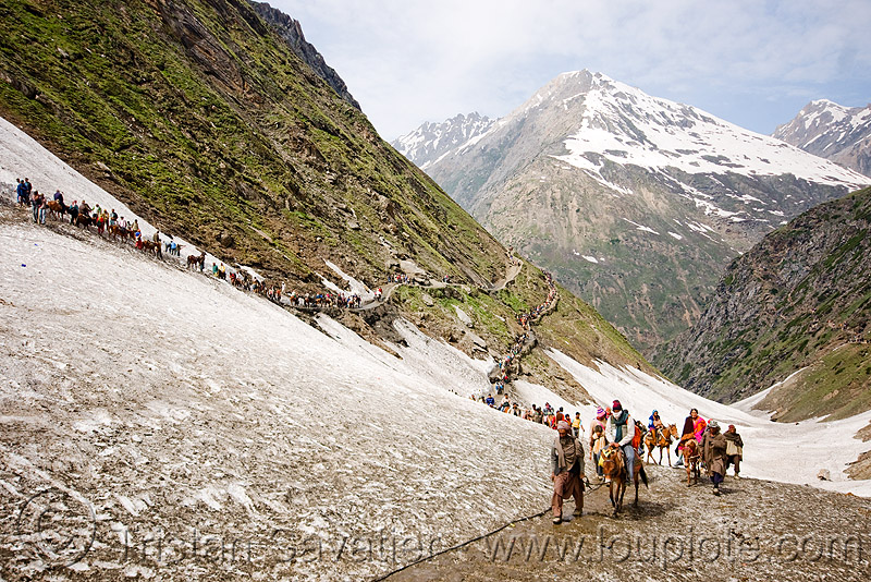 pilgrims on glacier trail - amarnath yatra (pilgrimage) - kashmir, amarnath yatra, glacier, hiking, hindu pilgrimage, india, kashmir, mountain trail, mountains, pilgrims, snow, trekking, valley