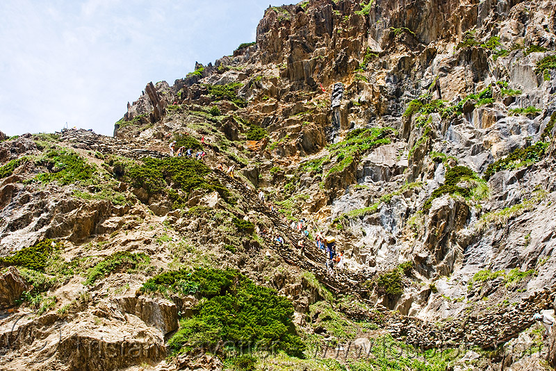 pilgrims on trail - amarnath yatra (pilgrimage) - kashmir, amarnath yatra, kashmir, mountain trail, mountains, pilgrim, pilgrimage, trekking, yatris, अमरनाथ गुफा