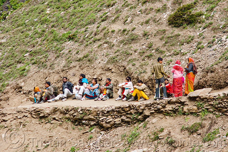 pilgrims resting on trail - amarnath yatra (pilgrimage) - kashmir, amarnath yatra, kashmir, mountain trail, mountains, pilgrimage, pilgrims, resting, trekking, yatris, अमरनाथ गुफा