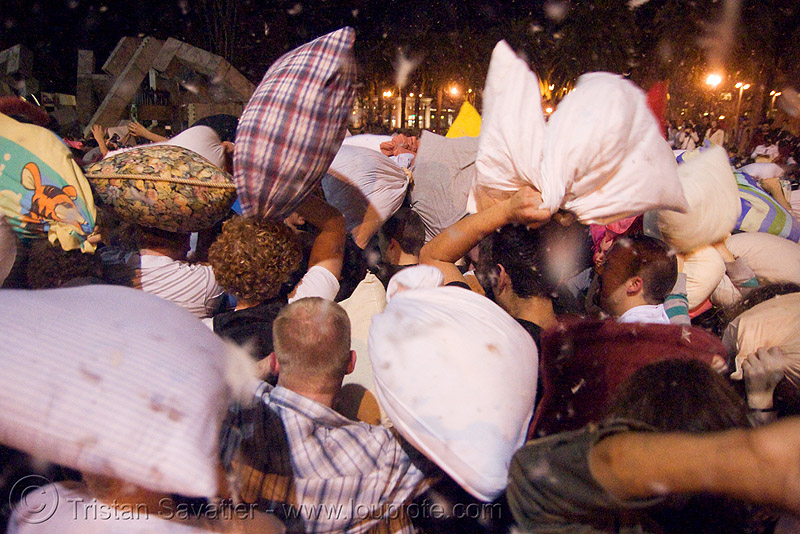 pillow battle at the great san francisco pillow fight 2008, down feathers, night, pillow fight club, pillows, world pillow fight day
