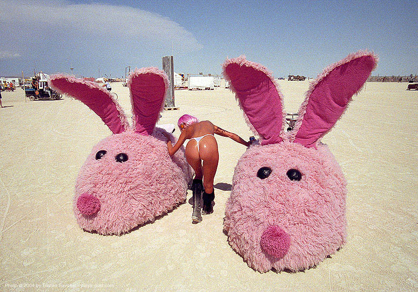 pink bunny slippers - burning-man 2003, art, art car, bunnies, burning man, greg, greg solberg, lisa, lisa pongrace, rabbits