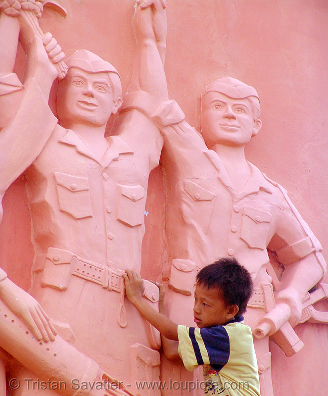 pink communist monument - kid - vietnam, boy, break dance, break dancing, child, communism, memorial, people, phan thiet, victory