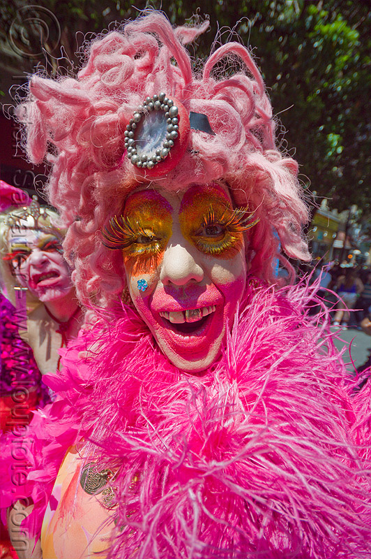 pink drag queen, eyelashes, face painting, facepaint, fake eyelashes, gay pride, gay pride festival, makeup, people, pink feathers, pink wig