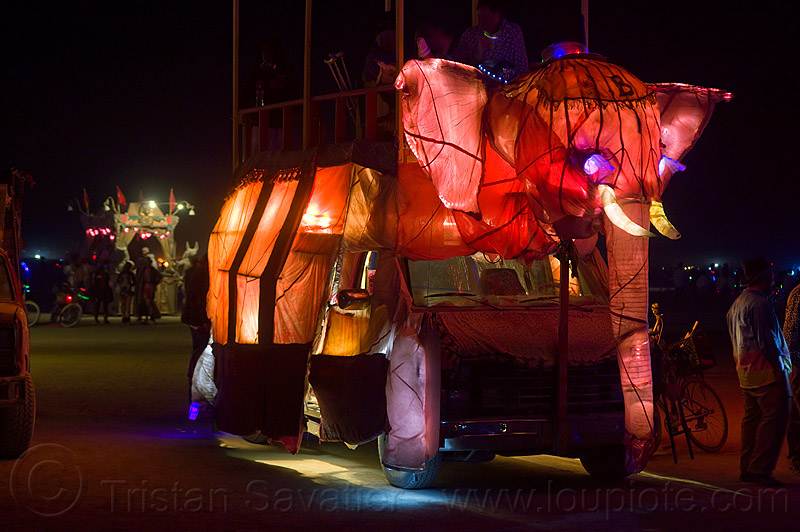 pink elephant art car - burning man 2012, art car, beau le'phant, burning man, glowing, night, pink elephant