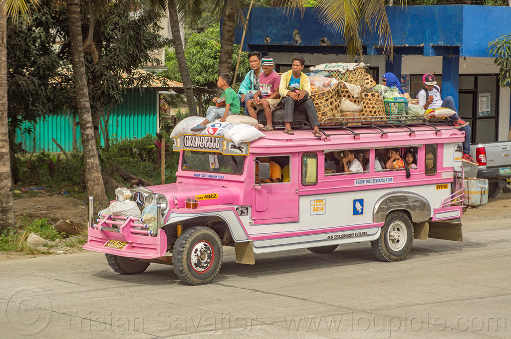 jeepney with passengers on roof (philippines), cordillera, jeepney, passengers, philippines, pink, public transportation, road, roof, sitting