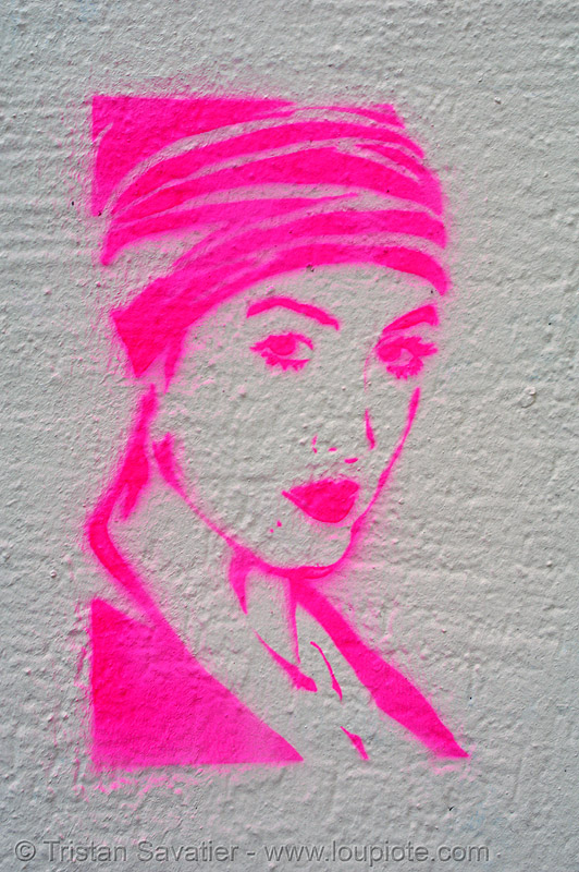 pink stencil graffiti, graffiti, neon color, neon pink, paris, stencil, street art, wall, white, woman