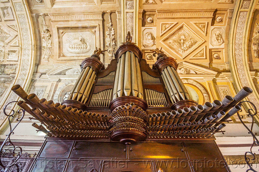 pipe organ - manila (philippines), architecture, ceiling, manila, philippines, pipe organ, san augustin church, trompe l'oeil