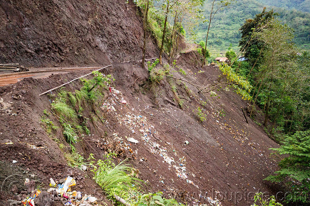 plastic trash on the road side (philippines), cordillera, environment, garbage, philippines, plastic trash, pollution, road, rubbish