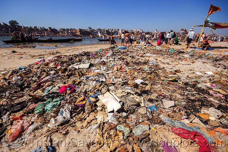 plastic trash pollution - ganges river - ganga - varanasi (india), beach, environment, garbage, people, river bank, rubbish, sand