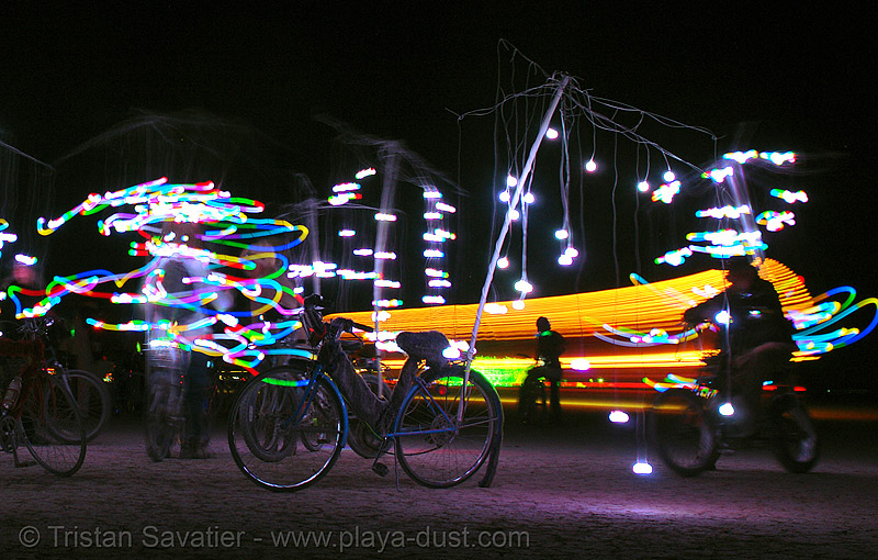 playa flies - burning-man 2006, art, burning man, chinchilla camp, glowing, led lights, michael brown, night, playa flies