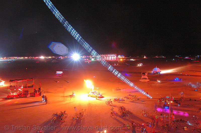 playa from above - burning-man 2006, art, beanstalk, burning man, david rattray, fire, flames, mike light, night, that's one tall fucking thing, wil van hazel