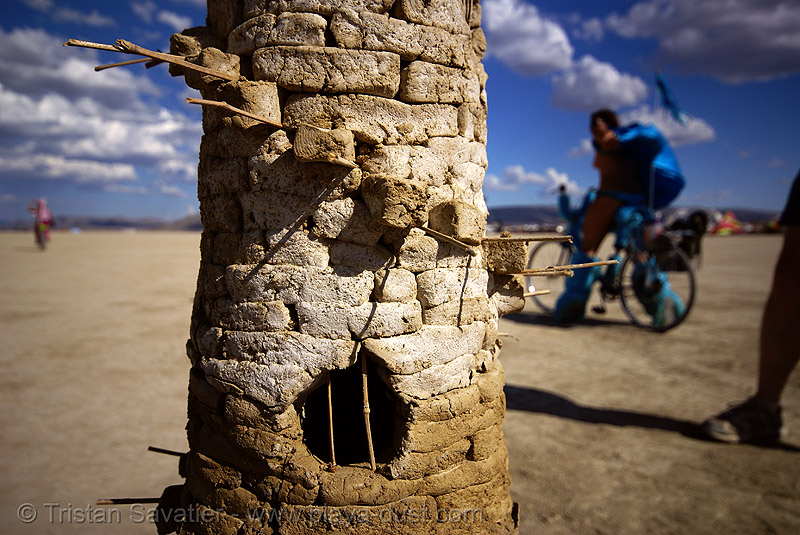 playa ruins - burning man 2007, art installation, burning man, playa ruins, stone tower