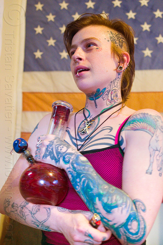 pledge of allegiance - marijuana legalization, american flag, bong, bottle, leah, tattooed, tattoos, us flag, water pipe, woman