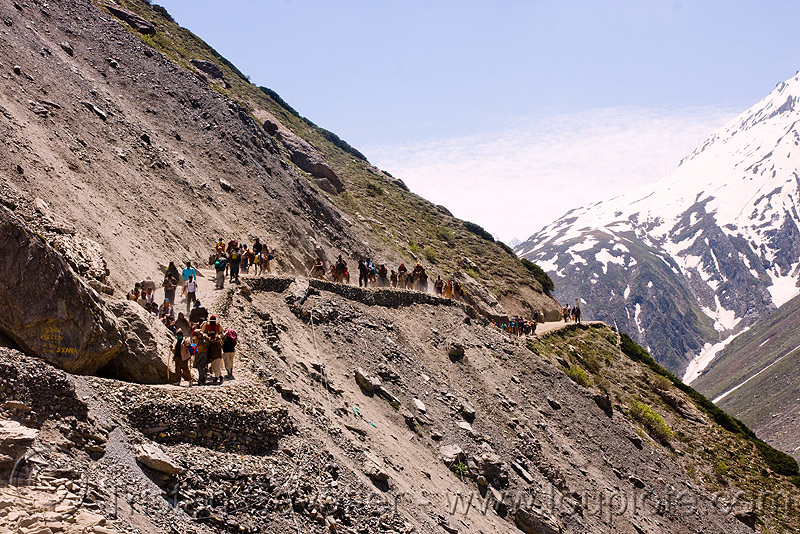 ponies and pilgrims on the trail - amarnath yatra (pilgrimage) - kashmir, caravan, crowd, horse riding, horseback riding, horses, kashmiris, mountain trail, mountains, people, trekking, yatris, अमरनाथ गुफा