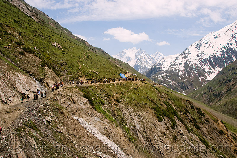 ponies and pilgrims on the trail - amarnath yatra (pilgrimage) - kashmir, horse riding, horseback riding, horses, kashmiris, mountain trail, mountains, people, trekking, yatris, अमरनाथ गुफा
