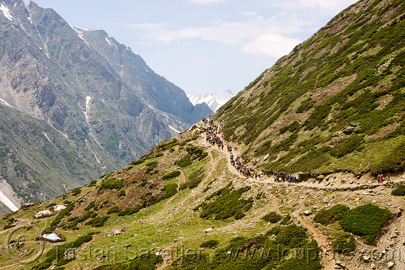ponies and pilgrims on the trail - amarnath yatra (pilgrimage) - kashmir, amarnath yatra, hiking, hindu pilgrimage, horse riding, horseback riding, horses, india, kashmir, kashmiris, mountain trail, mountains, pilgrims, ponies, trekking
