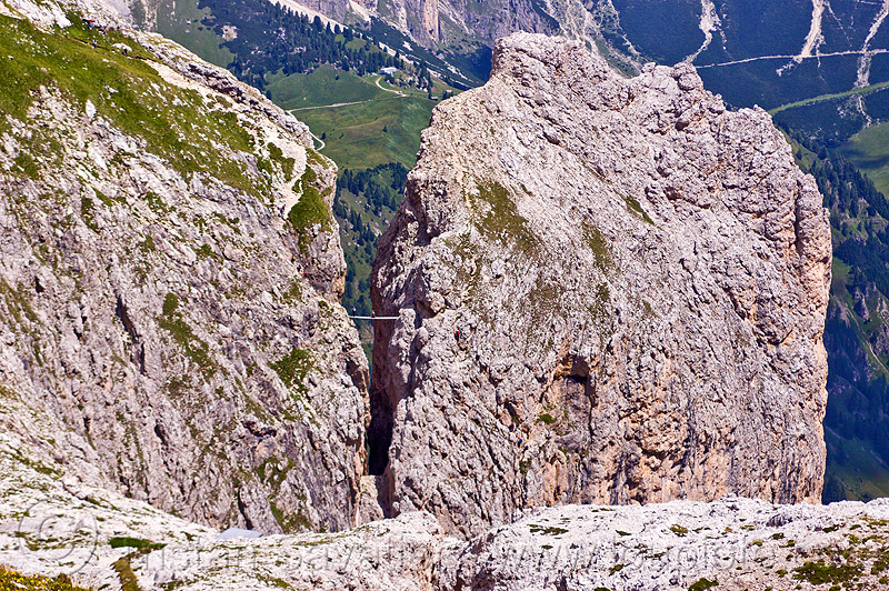 ponte tridentina - dolomites, alps, catwalk, chasm, cliff, climber, dolomites, dolomiti, ferrata tridentina, footbridge, mountain climbing, mountaineer, mountaineering, mountains, ponte tridentina, rock climbing, suspension bridge, vertical, via ferrata brigata tridentina