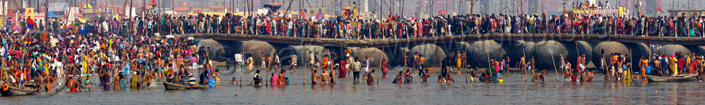 pontoon bridge - floating bridge over ganges river - kumbh mela (india), crowd, floating bridge, ganga, ganges river, hindu pilgrimage, hinduism, holy bath, holy dip, india, kumbh maha snan, maha kumbh mela, mauni amavasya, metal tanks, nadi bath, panorama, pontoon bridge, river bathing