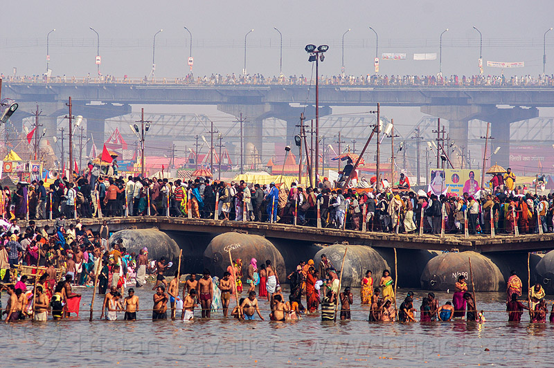 pontoon bridge over ganges river - kumbh mela (india), amavasya, bath, bathing, crowd, floating bridge, ganga, ganga river, hindu, hinduism, holy bath, holy dip, infrastructure, kumbh maha snan, kumbha mela, maha kumbh, maha kumbh mela, mauni amavasya, people, river bath, river bathing, water
