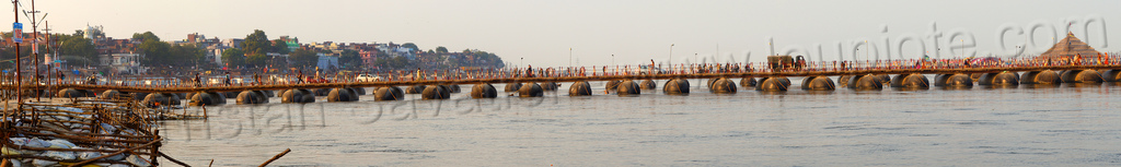 pontoon bridges over ganges river - kumbh mela 2013 (india), ashrams, bridge, floating bridge, foot bridge, ganga, ganga river, hindu, hinduism, infrastructure, kumbha mela, maha kumbh, maha kumbh mela, metal tanks, panorama, people, pontoon bridge, pyramid, stitched, walking, water