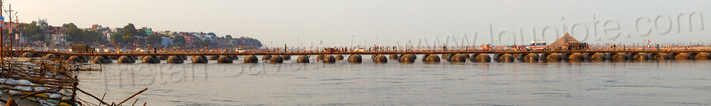 pontoon bridges over ganges river - panorama - kumbh mela 2013 (india), ashrams, bridge, floating bridge, foot bridge, ganga, ganga river, hindu, hinduism, infrastructure, kumbha mela, maha kumbh, maha kumbh mela, metal tanks, people, pontoon bridge, pyramid, stitched, walking, water
