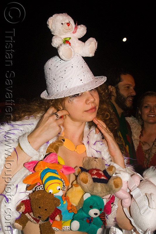 poo-bear girl - opulent temple massive rave party (treasure island, san francisco), hat, night, opulent temple, pooh-bear, raver, teddy bears, woman