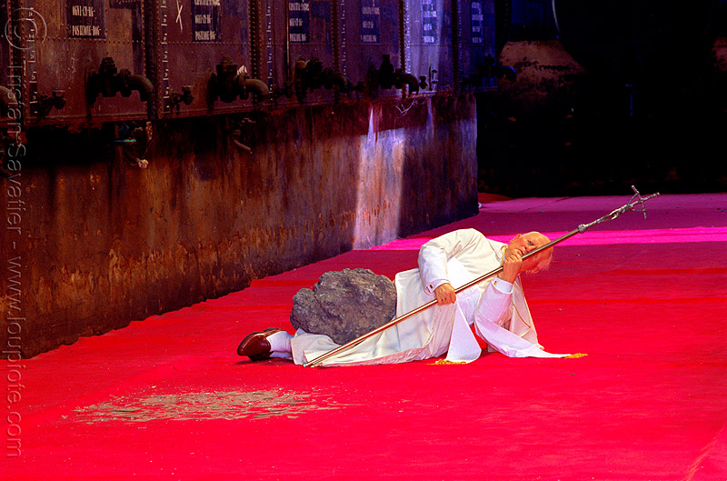 the pope is struck by a meteorite, catholicism, cross, crucifix, freak accident, maurizio cattelan, meteorite, pope, red, sculpture, statue, the ninth-hour, wax