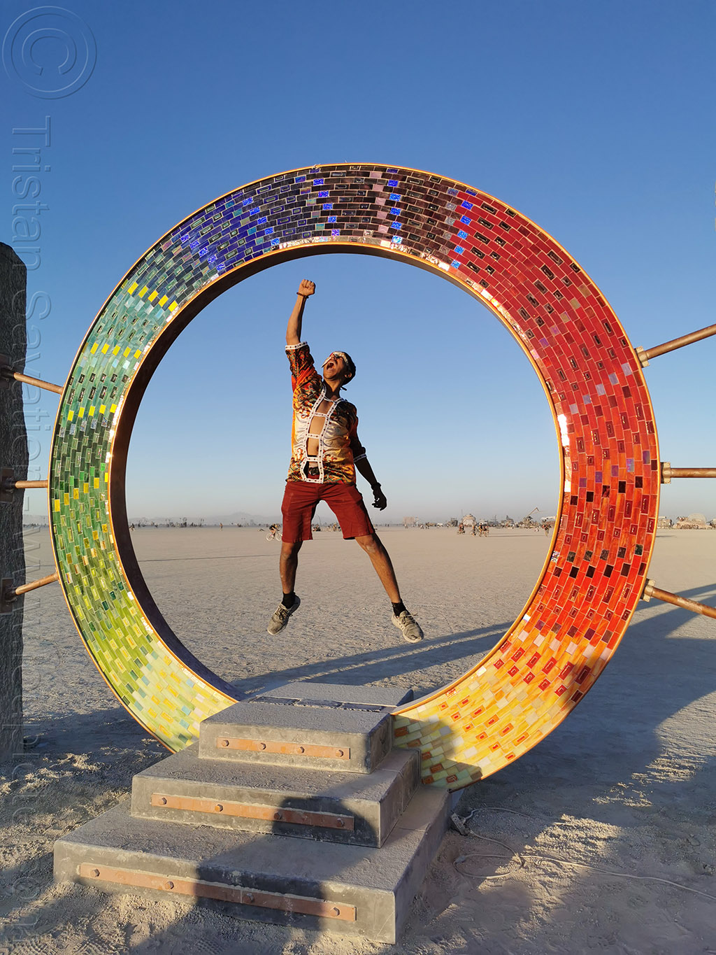 portal - burning man 2019, art city monsters, art installation, burning man, circle, david oliver, jumpshot, portal, ring, sculpture