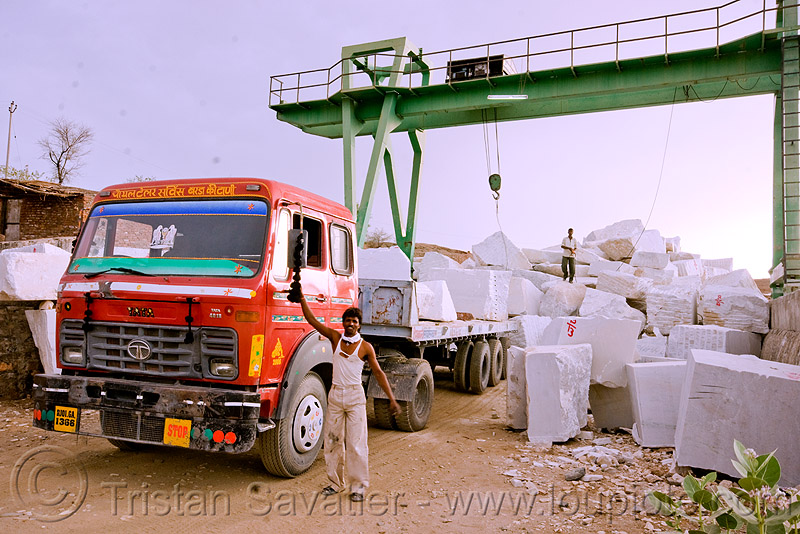 portal crane in white marble quarry (india), blocks, gantry crane, lorry, marble, portal crane, road, tata motors, truck