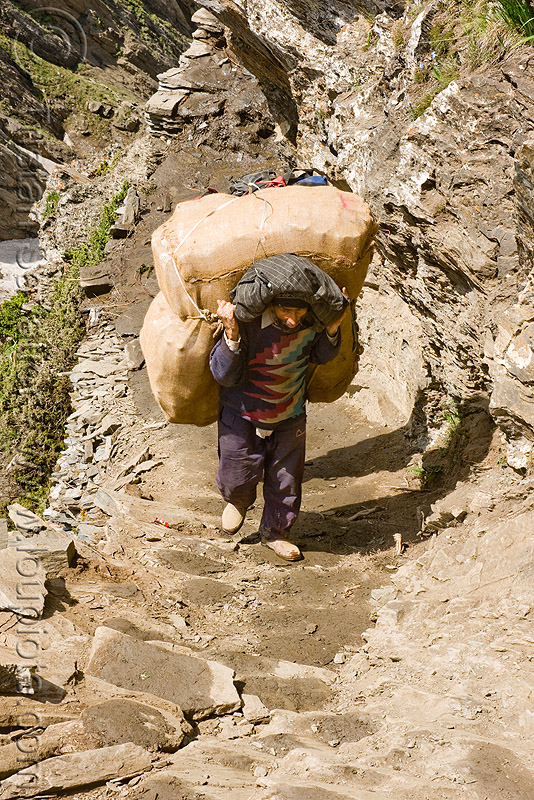 porter with heavy bag on trail - amarnath yatra (pilgrimage) - kashmir, amarnath yatra, bag, bearer, kashmir, man, mountain trail, mountains, pilgrim, pilgrimage, porter, trekking, wallah, yatris, अमरनाथ गुफा