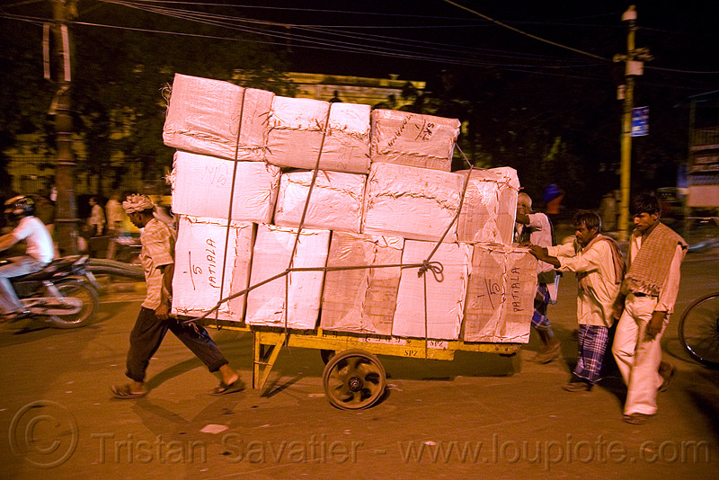 porters with heavy load of freight - delhi (india), bearers, cart, men, night, people, street, wallahs