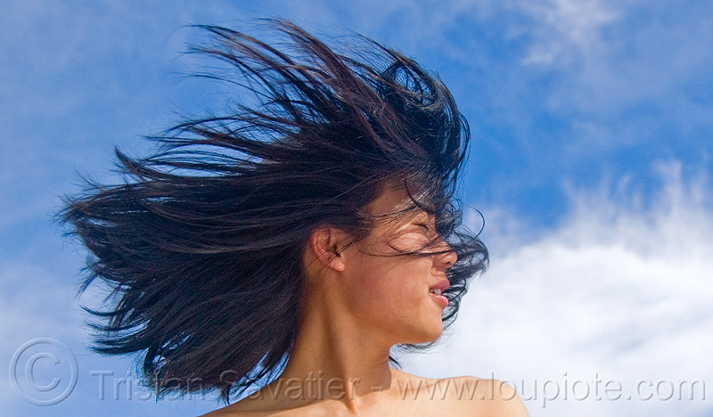 hair in the wind, blowing, blue sky, chinese, clouds, people, sharon, windy, woman