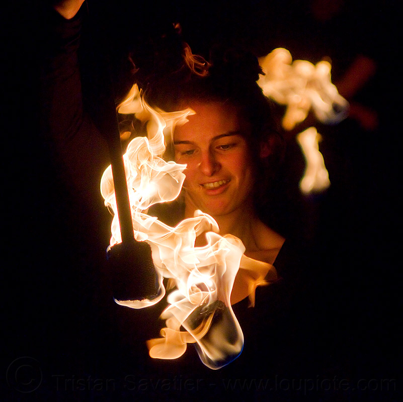 portrait with fire, ally, double staff, fire dancer, fire dancing, fire performer, fire spinning, fire staffs, flames, night, ves, woman