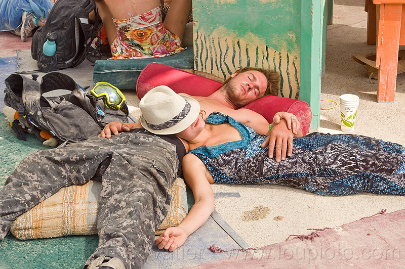 post burn nap - burning man 2013, burning man, center camp, couple, lying down, sleeping, woman