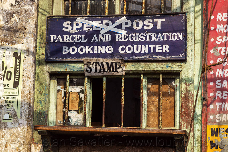 post office window - darjeeling (india), darjeeling, post office, sign, window