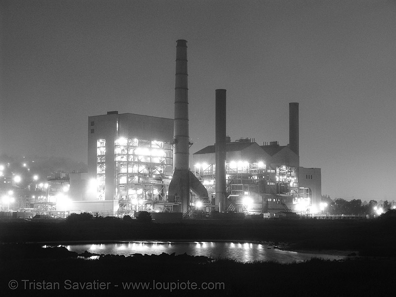 power plant at night, infrastructure, long exposure, power station