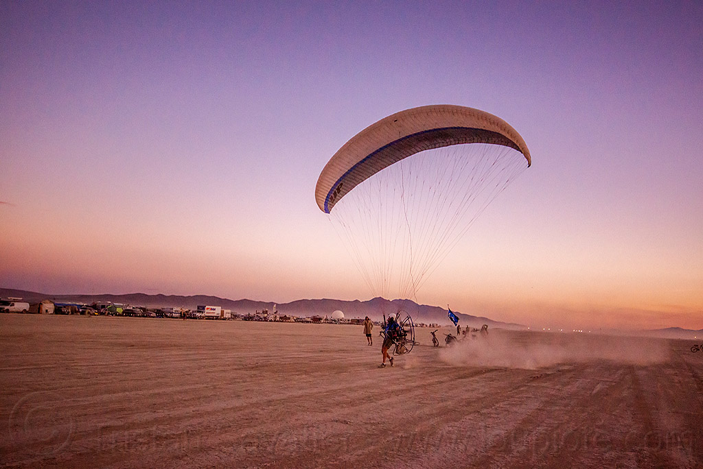powered paraglider takeoff - burning man 2015, brad gunnuscio, dusk, flying, man, paramotor, paramotoring, powered paraglider, powered paragliding