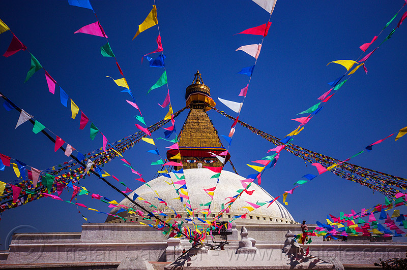 prayer flags at the bodnath stupa - boudhanath - kathmandu (nepal), bodnath stupa, boudhanath, buddhism, kathmandu, prayer flags, tibetan
