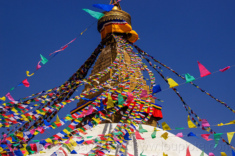 prayer flags on the bodnath stupa - boudhanath - kathmandu (nepal), bodnath stupa, boudhanath, buddhism, kathmandu, prayer flags, tibetan